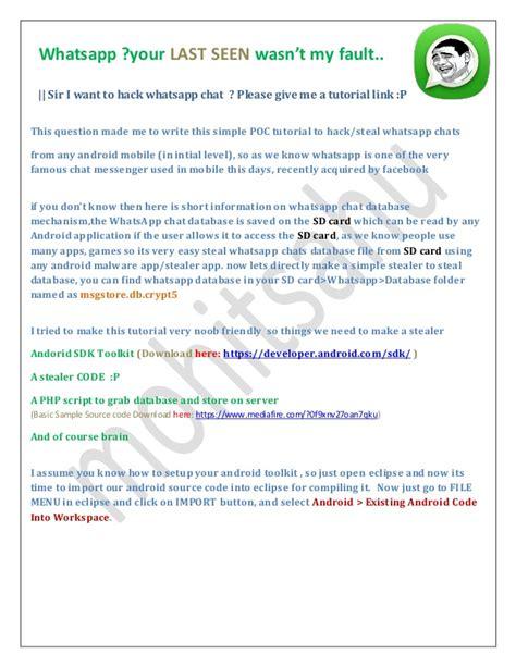 tutorial whatsapp ppt whatsapp chat hacking stealing poc
