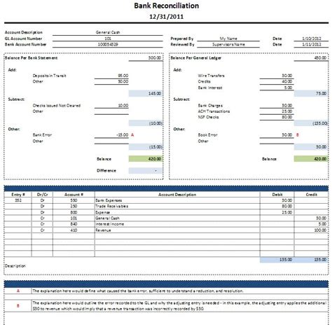 Bank Reconciliation Template Cyberuse Balance Bank Account Template