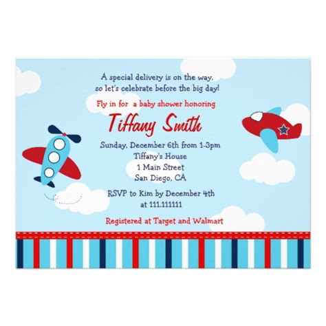 Airplane Baby Shower Invitations by Airplane Aviator Baby Boy Baby Shower Invitations