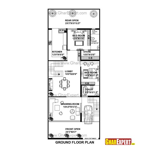 75 Square Meters To Feet by House Plan For 30 Feet By 75 Feet Plot Plot Size 250