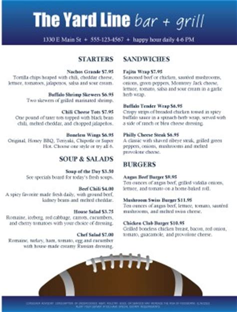 sports bar menu template football bar food menu sports bar menus