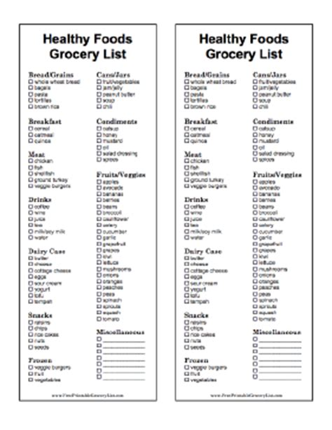 healthy grocery shopping list template healthy grocery list for two grocery list template