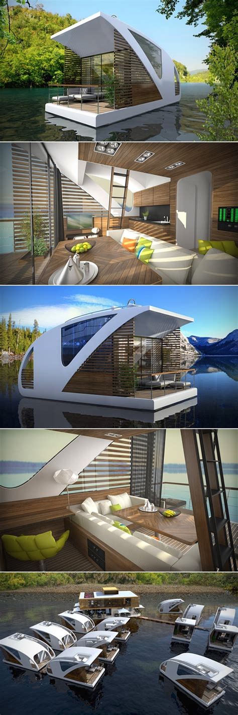 floating hotel room this floating hotel has catamarans for rooms complete with dock techeblog