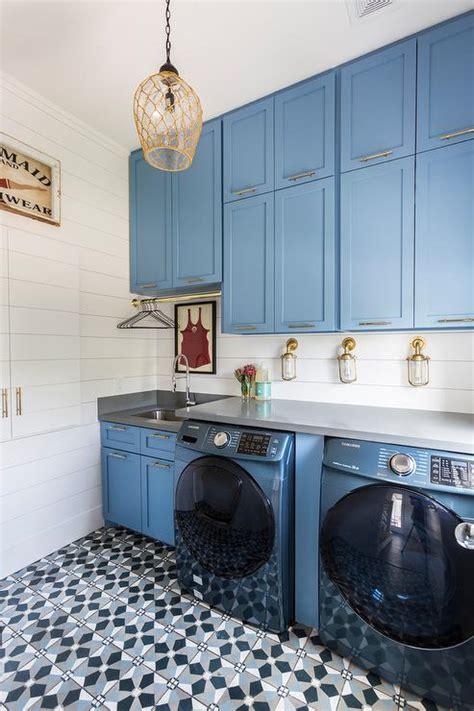blue laundry room cabinets  black  white mosaic hex