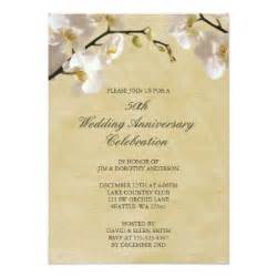 50th wedding anniversary vintage white orchid invite