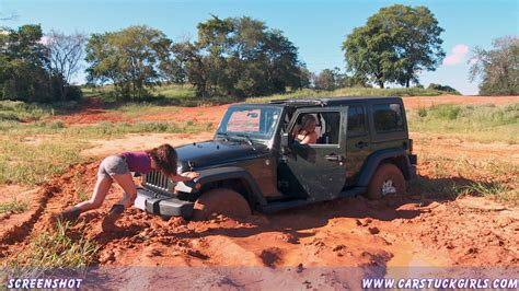 jeep stuck in mud two girls stuck in mud with their jeep and their boots