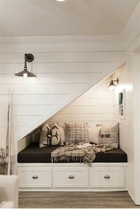 shiplap nook under stairs nook with shiplap and barn doors farmhouse