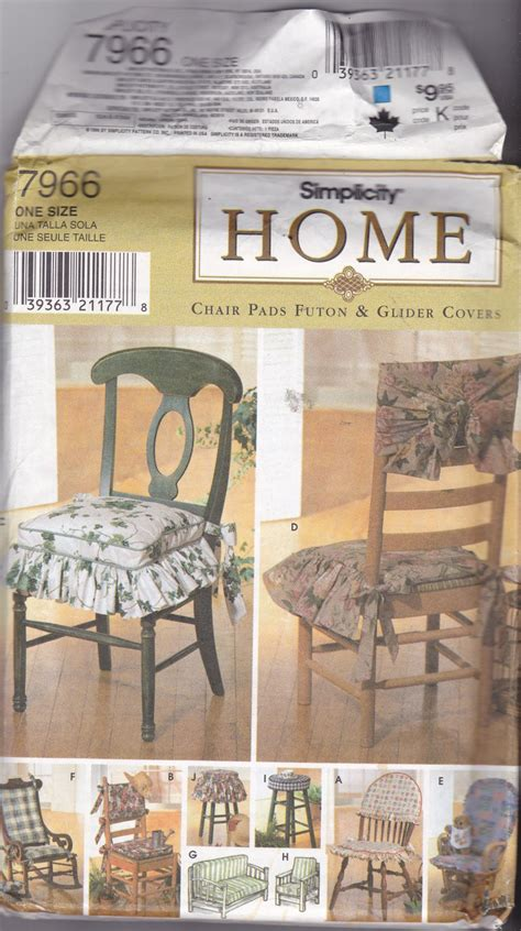 simplicity home decor pattern 7966 ff chair pads