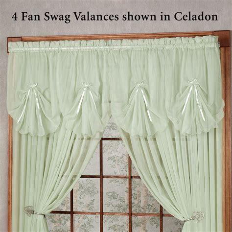 sheer swag curtains valances emelia sheer fan swag valances