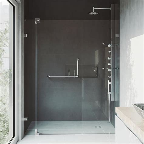 48 Pivot Shower Door Shop Vigo Pirouette 42 In To 48 In Frameless Chrome Hinged Shower Door At Lowes