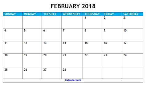printable february 2018 calendar pdf 2018 february pdf calendar printable download calendarbuzz