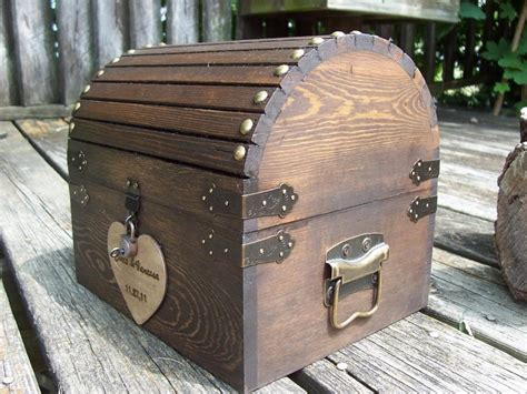 wooden wedding card box ideas ready to ship 3 5 days wedding card box rustic wood treasure chest with card slot and