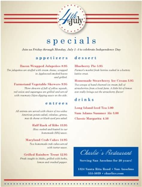 4th Of July Menu Template by July 4th Restaurant Menu 4th Of July Menus