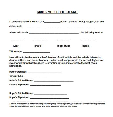motor vehicle bill of sale template pdf vehicle bill of sale template 14 free