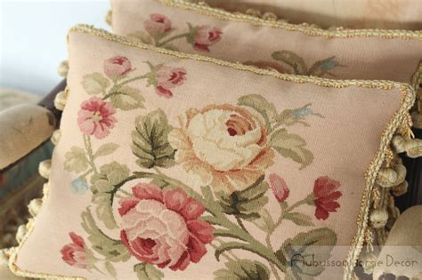 buy pair wool aubusson pillow blue pink shabby chic