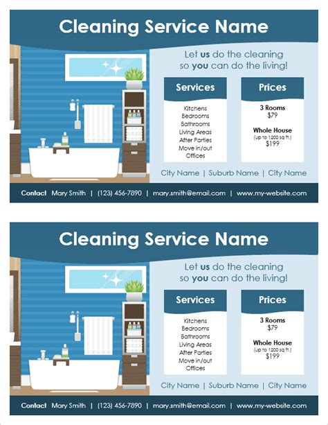 free template for cleaning services cleaning service flyer template 2 per page by vertex42