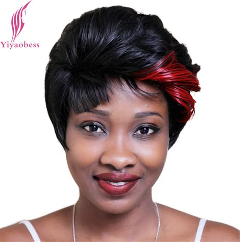 middlesge black hair do yiyaobess 8inch red black hair highlights short wig for