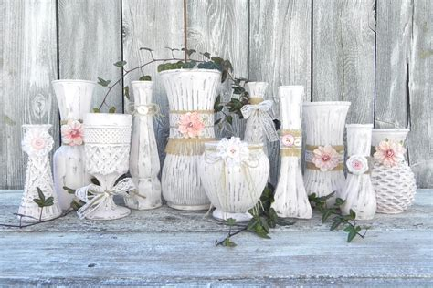 Shabby Chic Vases Burlap And Lace Pink Shabby Chic Vase Collection By