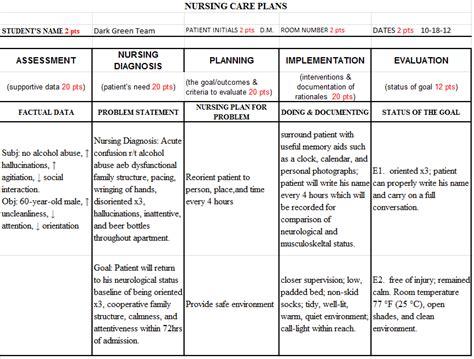 school care plan template nursing teaching care plan exle