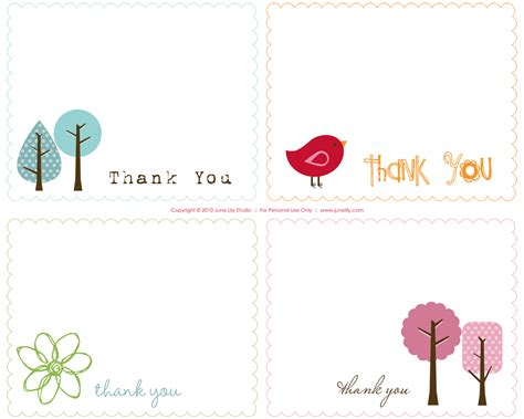 Thank You Cards Printable And Free | free printable thank you notes june lily design
