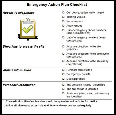 emergency plan template for sports preparing an emergency plan eap