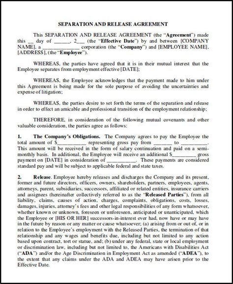 separation and release agreement template 9 sle separation agreement free sle exle