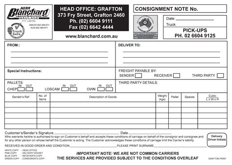 Office Depot by Blanchard Haulage Consignment Note Blanchard Haulage