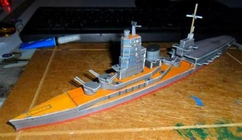 Battleship Papercraft - ise class japanese hybrid battleship paper model in 1 700
