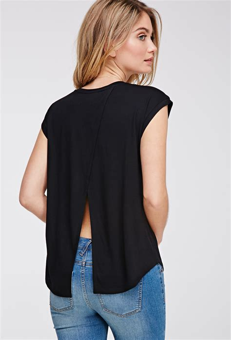 Back Tops by Forever 21 Split Back Top In Black Lyst
