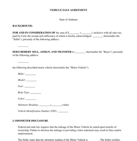 Agreement Letter For Sale Of Motor Vehicle vehicle sale agreement free template word pdf