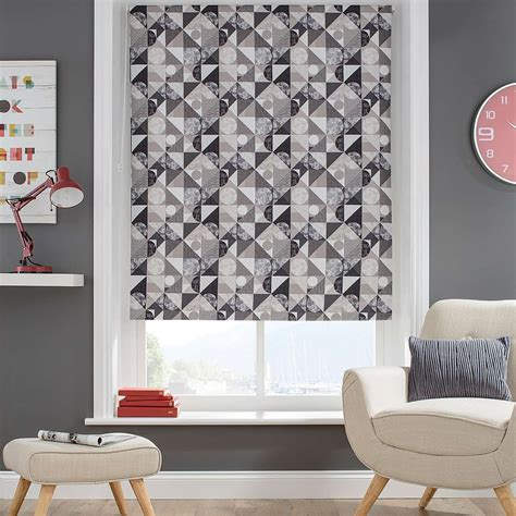 patterned blackout blinds bedroom decorated with a modern pattern made up of grey circles