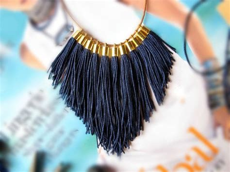 Kalung Fashion Necklace Tassel Symmetric Rbdceb navy statement fringe statement necklace with leather gold tassels and clay bead next