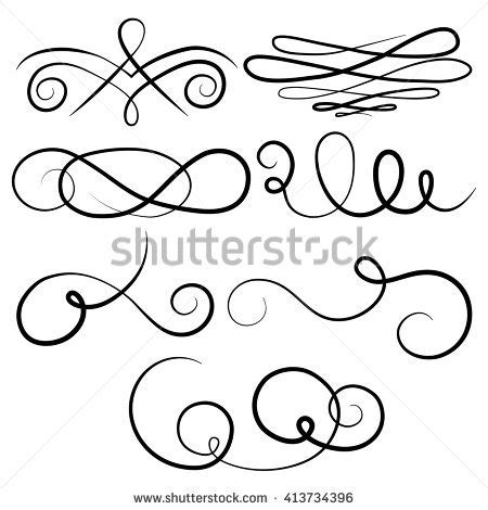 vector wedding design elements and calligraphic page decoration ornate calligraphy type victorian swirls vector stock