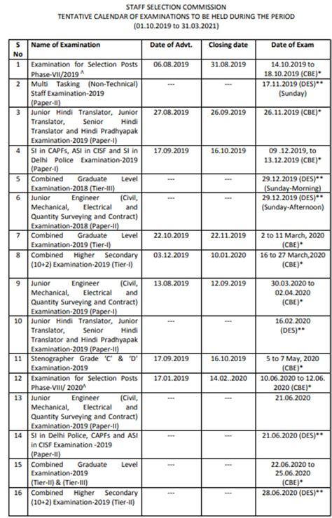 ssc cgl exam calendar  direct link  oneindia news