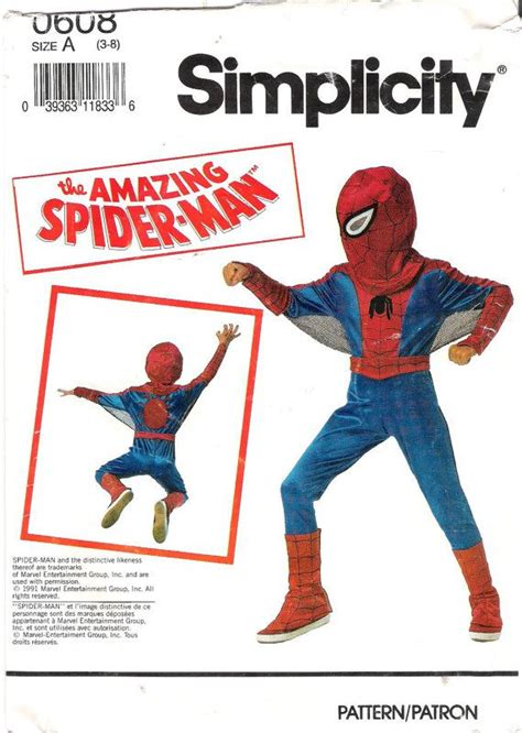 sewing pattern spiderman mask child s spider man costume simplicity sewing pattern 0608