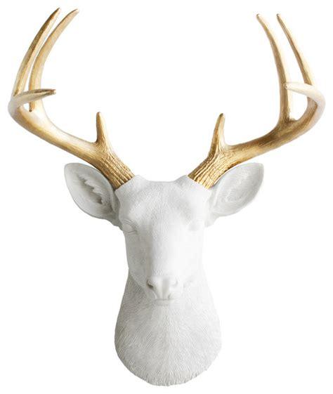 modern deer wall mount wall charmers mounted resin deer with gold antlers