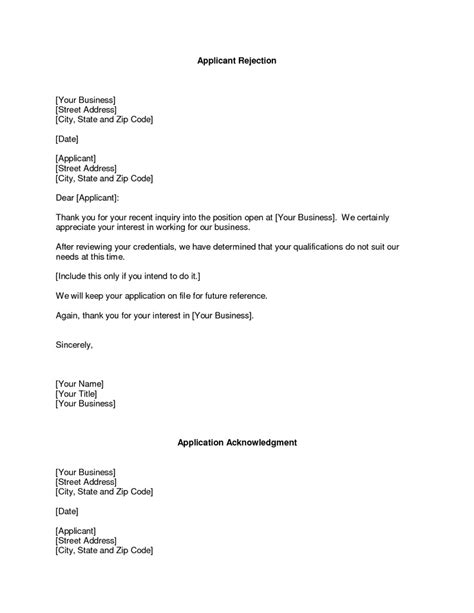 Rejection Letter Exles For After An Business Rejection Letter Rejection Of Free Sle And Exle Letters Sle Letter