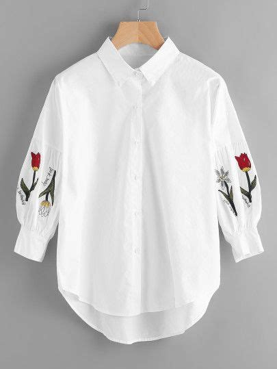 Atasan Bishop flower embroidery single breasted blouse atasan