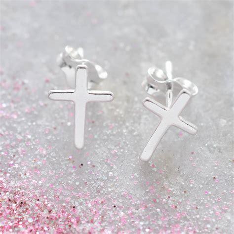 Cross Sterling Silver Earring tiny sterling silver cross earrings by hurleyburley