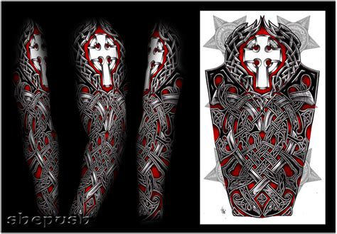 irish half sleeve tattoo designs nathaniel celtic sleeve by shepush on deviantart