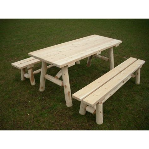 white cedar log picnic tables