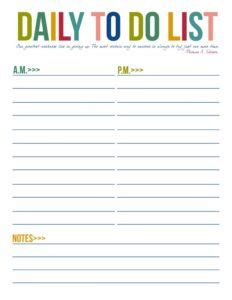 daily printable to do list templates