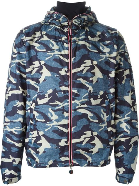 Camouflage Hooded Jacket moncler camo hooded zip up jacket in blue for lyst