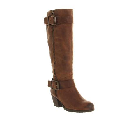 office agenda zip brown leather knee boots