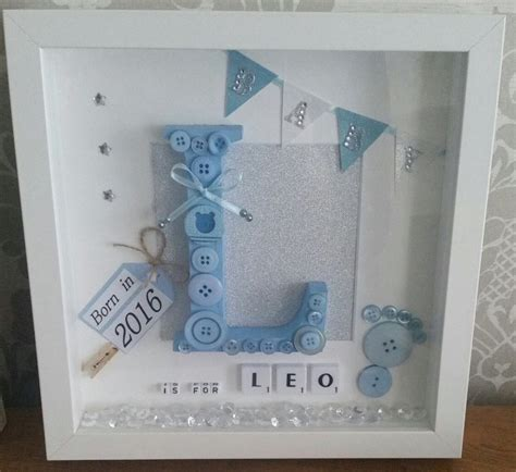 Handmade Baby Keepsake Box - personalised handmade baby name frame keepsake gift birth