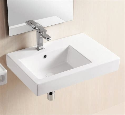 wall mounted ceramic sink with counter space modern