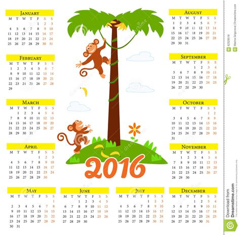 calendar 2016 free year of monkey new year calendar with cute cartoon monkey and 2016 stock