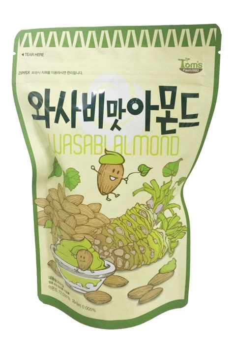 Wasabi Almond by Toms Gilim Wasabi Almonds Nuts Korean Snacks 210g