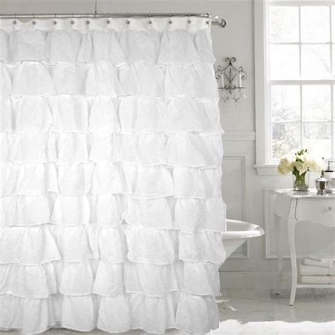 gypsy ruffled shower curtain gypsy white shabby chic ruffled fabric shower curtain