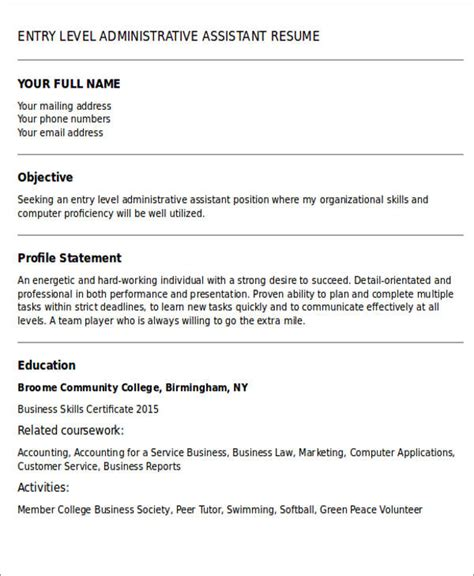 Resume Objective Entry Level Assistant Administrative Assistant Resume Objective 6 Exles In Word Pdf